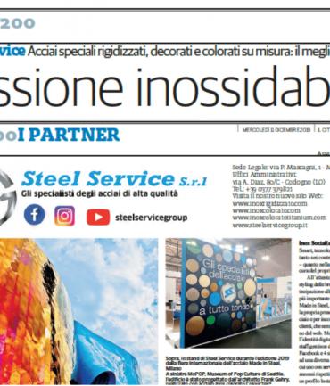 """""""Passione inossidabile"""": Steel Service sull'inserto Top200 de Il Cittadino"""